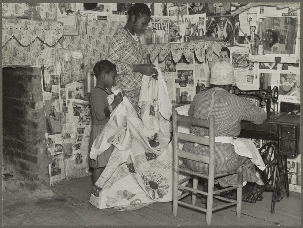 Sewing a Quilt. Gee's Bend, Alabama  by Arthur Rothstein, 1937 approx. (Library of Congress)