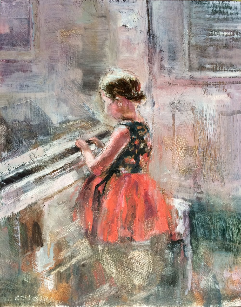 "Emma at the piano, 2016, oil on panel, 15""x12"""