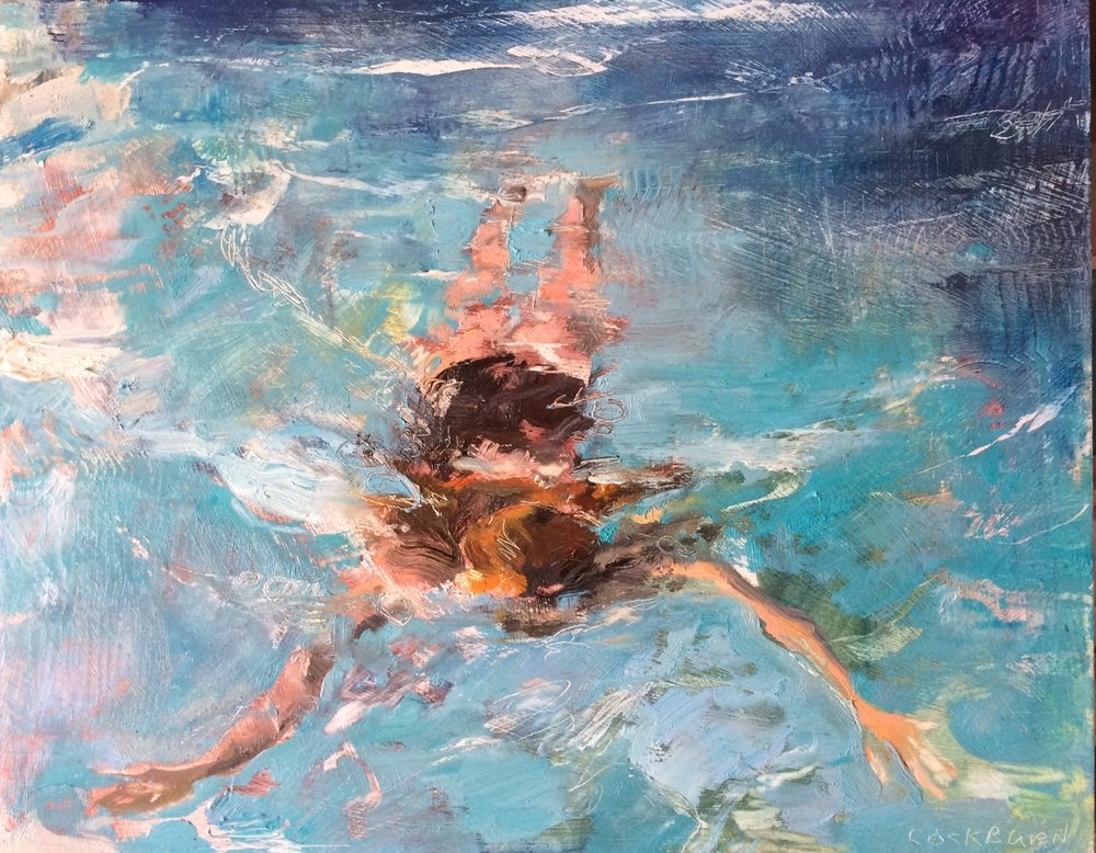 "Swimmer, 2016, oil on panel, 13"" x 16"""