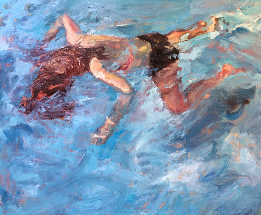 "Float, 2016, oil on panel, 16"" x 20"""