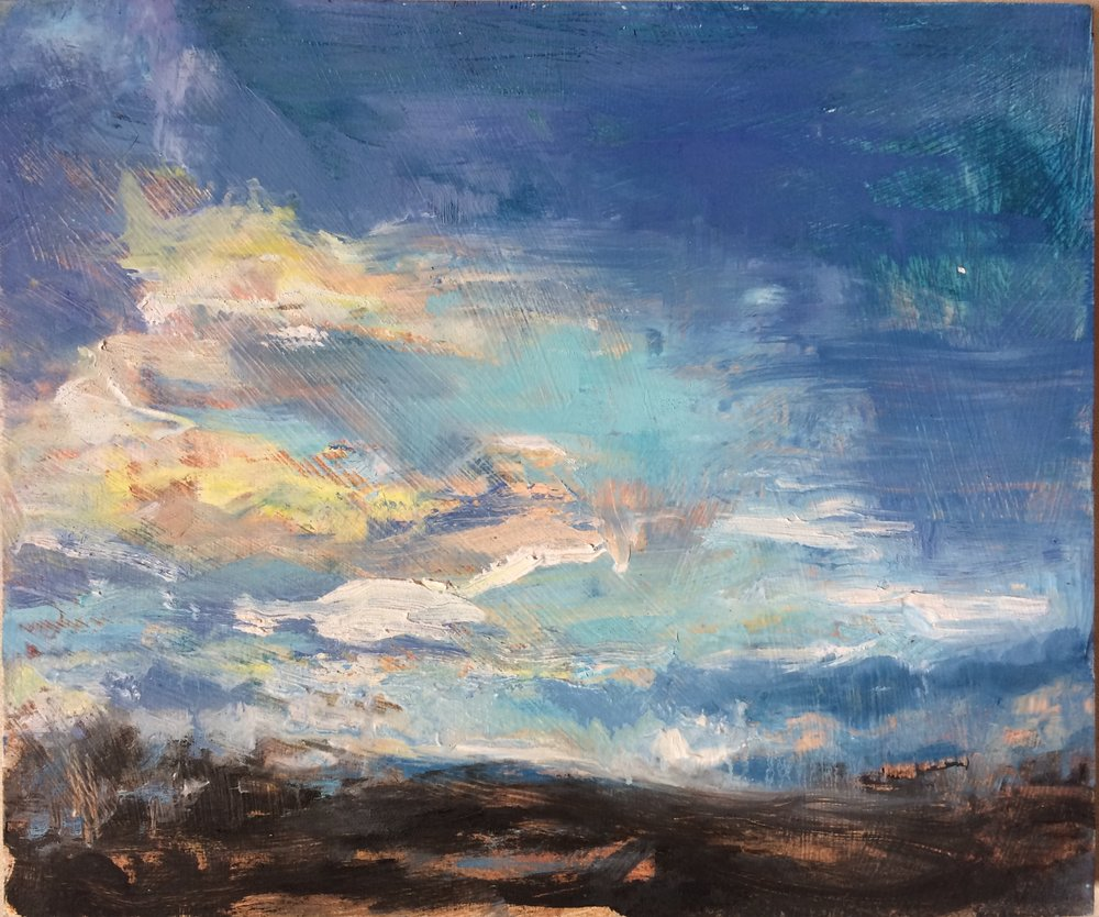 "Cloudy Sky, 2016, oil on panel, 10""x12"""