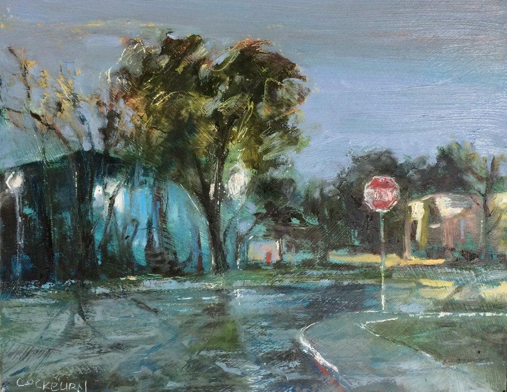 """Caroline Street, 2016, oil on panel, 11""""x14"""""""