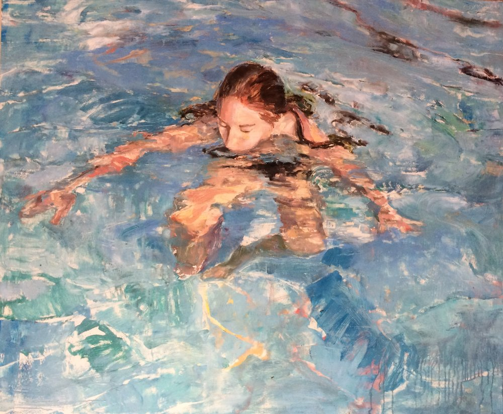 "Submerging, 2016, oil on panel, 41"" x 48"""