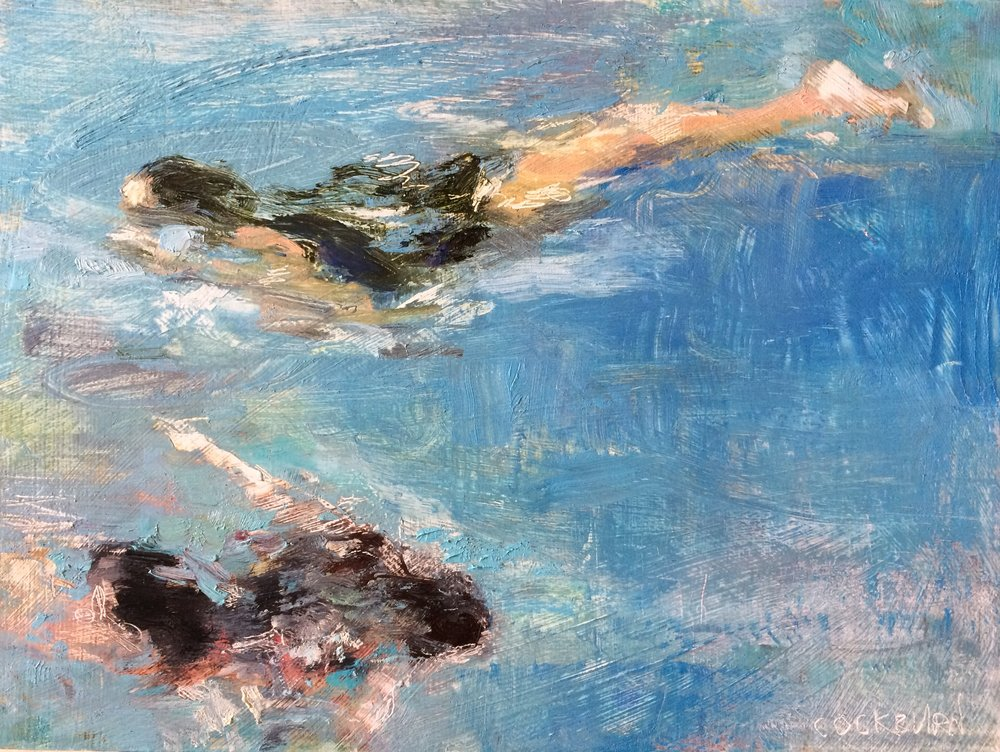 "Two Swimmers, 2016, oil on panel, 8"" x 10"""