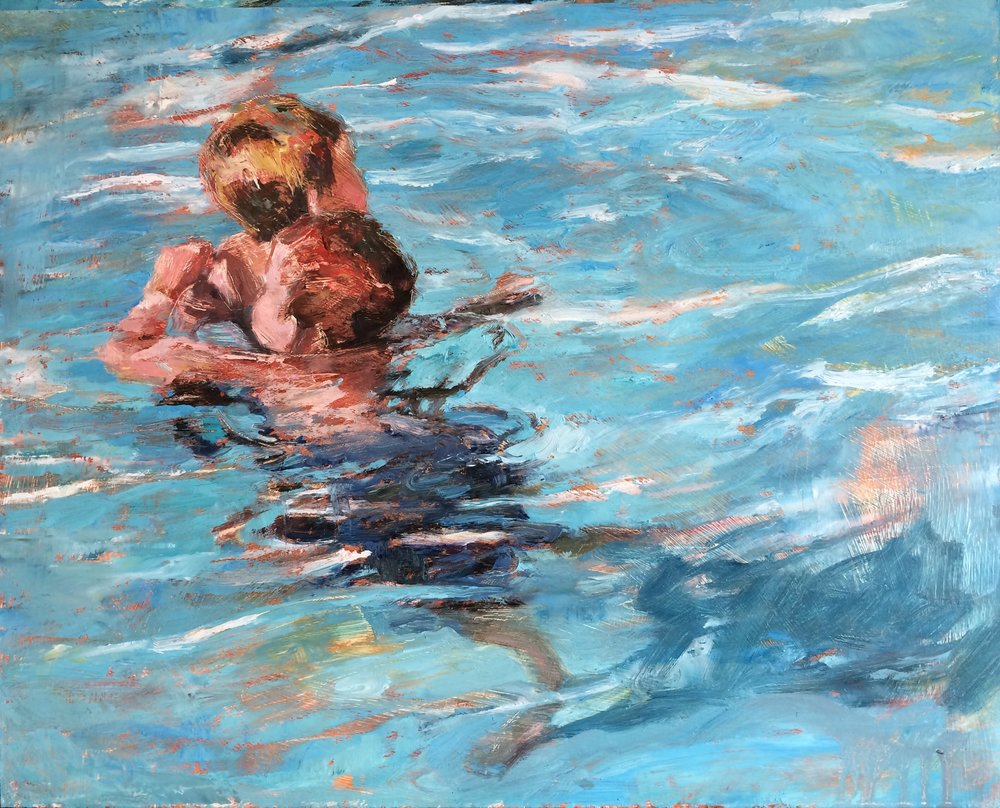 "Water Play, 2016, oil on panel, 16"" x 20"""
