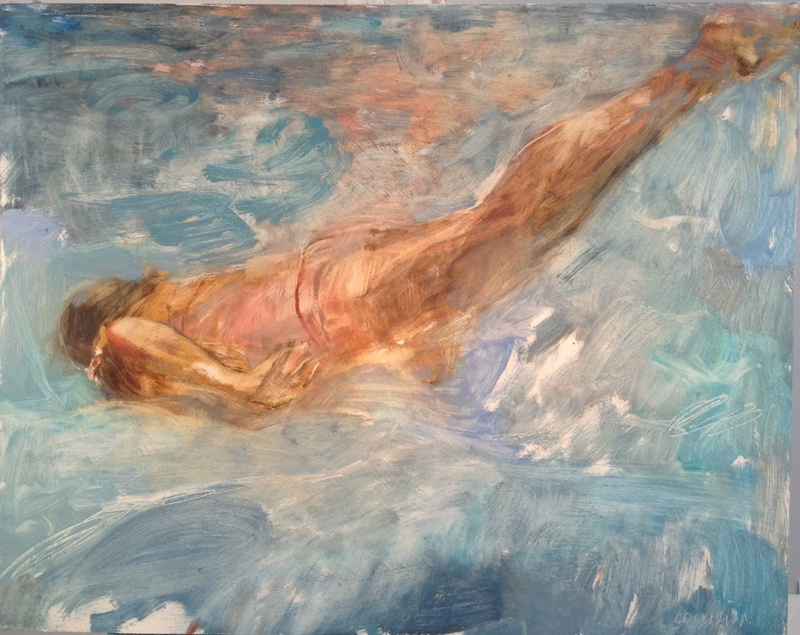 "Falling Slowly, 2014, oil on panel, 24"" x 30"""