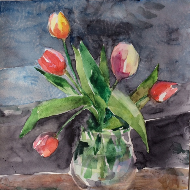 "Tulips on Grey, 2017, w/c, 12""x12"""