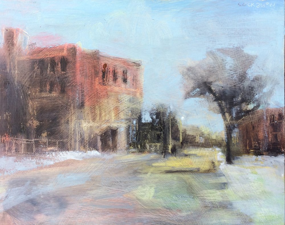 "Red Building, 2009, oil on panel, 8""x10"""