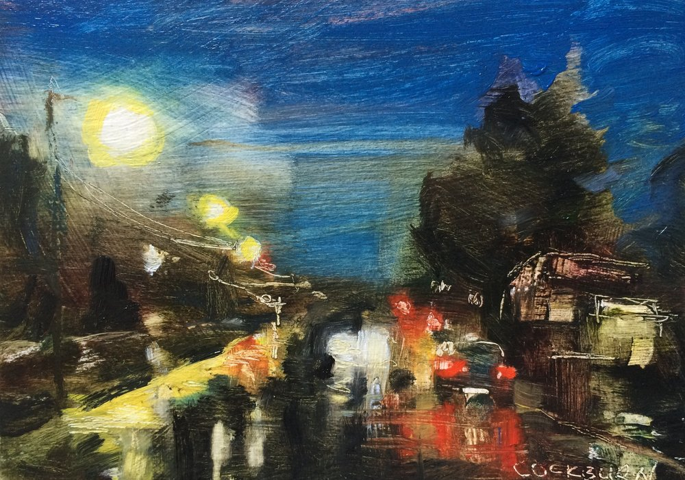 "Street at Night, 2017, oil on boxed panel, 5"" x 7"""
