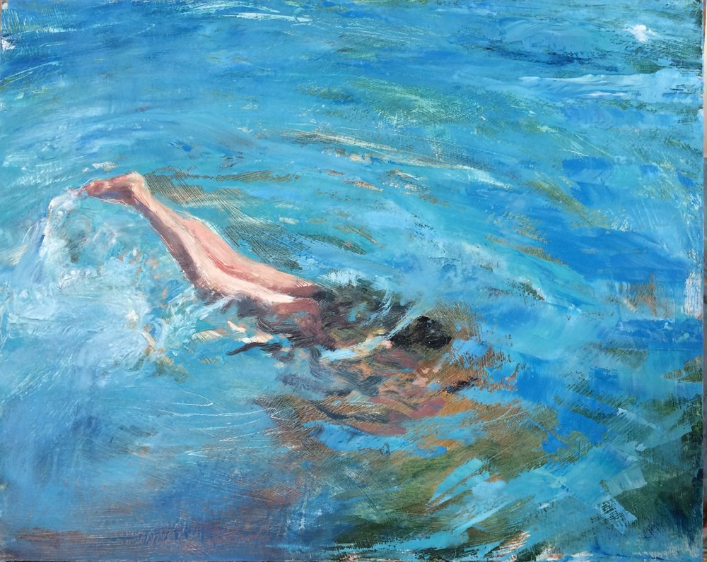 "Dive, 2016 oil on panel, 16"" x 20"""
