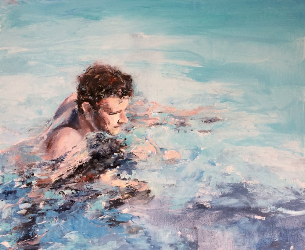 Floating, Summer, 2018, oil, 24 x 30