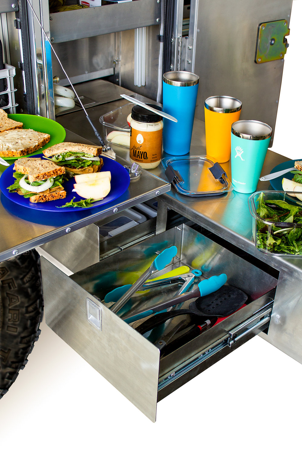 TWO LARGE STAINLESS STEEL UTENSIL DRAWERS