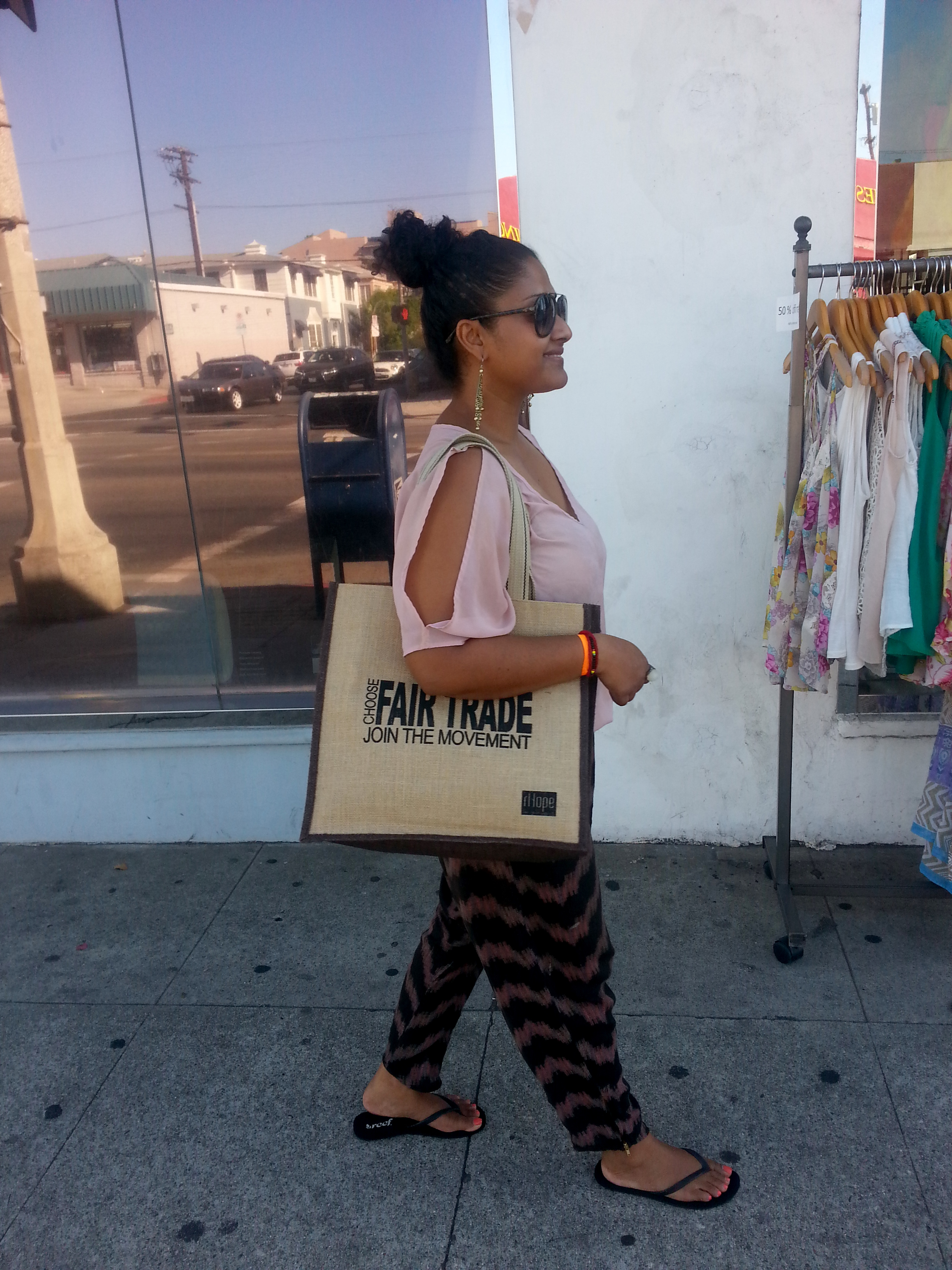 Sonali shopping, fair trade la, rhope, eco friendly bag, vegan, empowering women