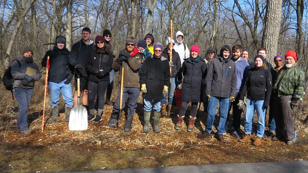 workday crew of the 4th restoration workday at LaBagh Woods which took place February 25th, 2018.JPG