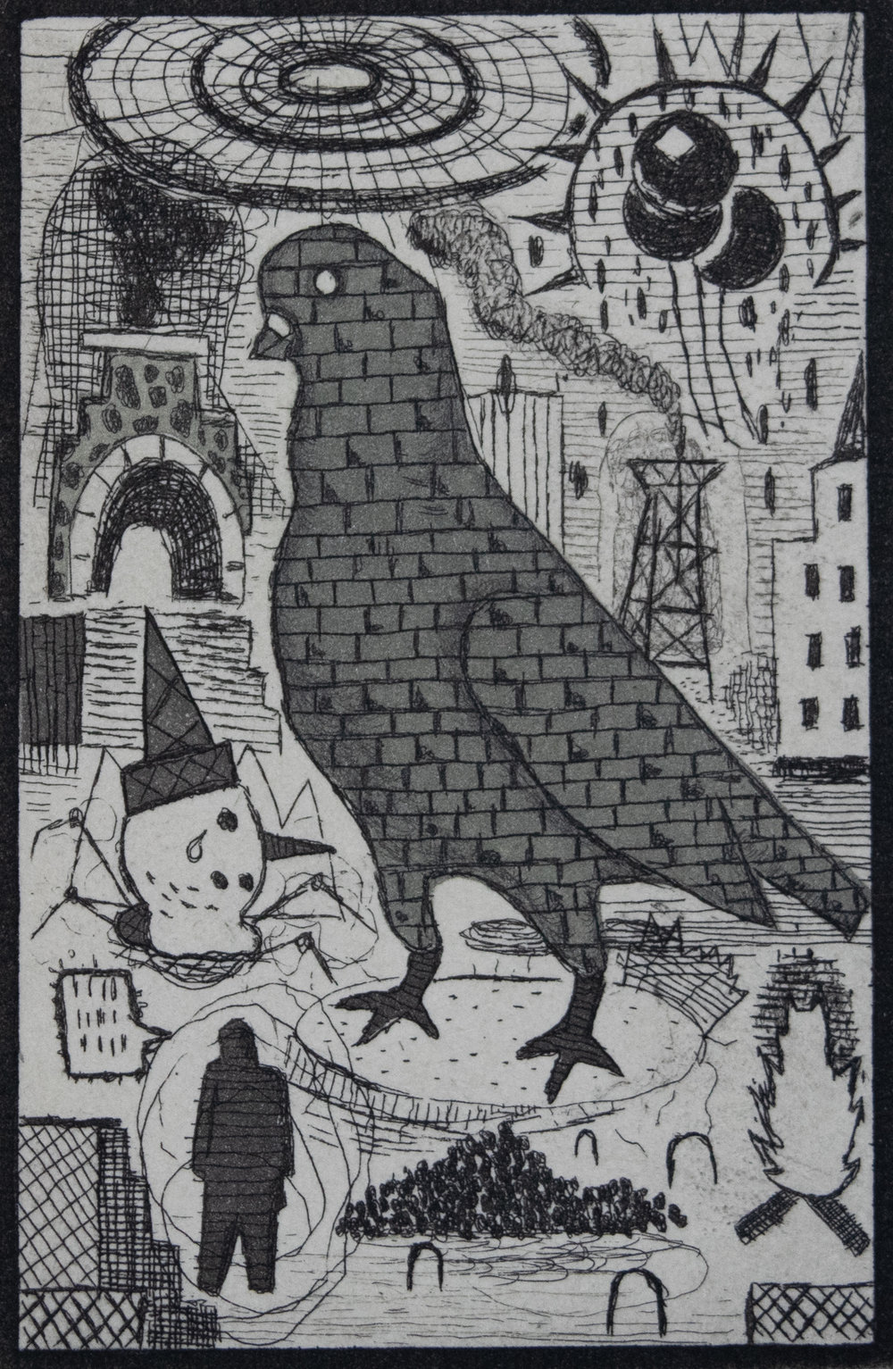 "Tony Fitzpatrick - ""Stone Bird""    Medium: Etching    Size: 2 x 3 inches (matted 8 x 9 inches)"