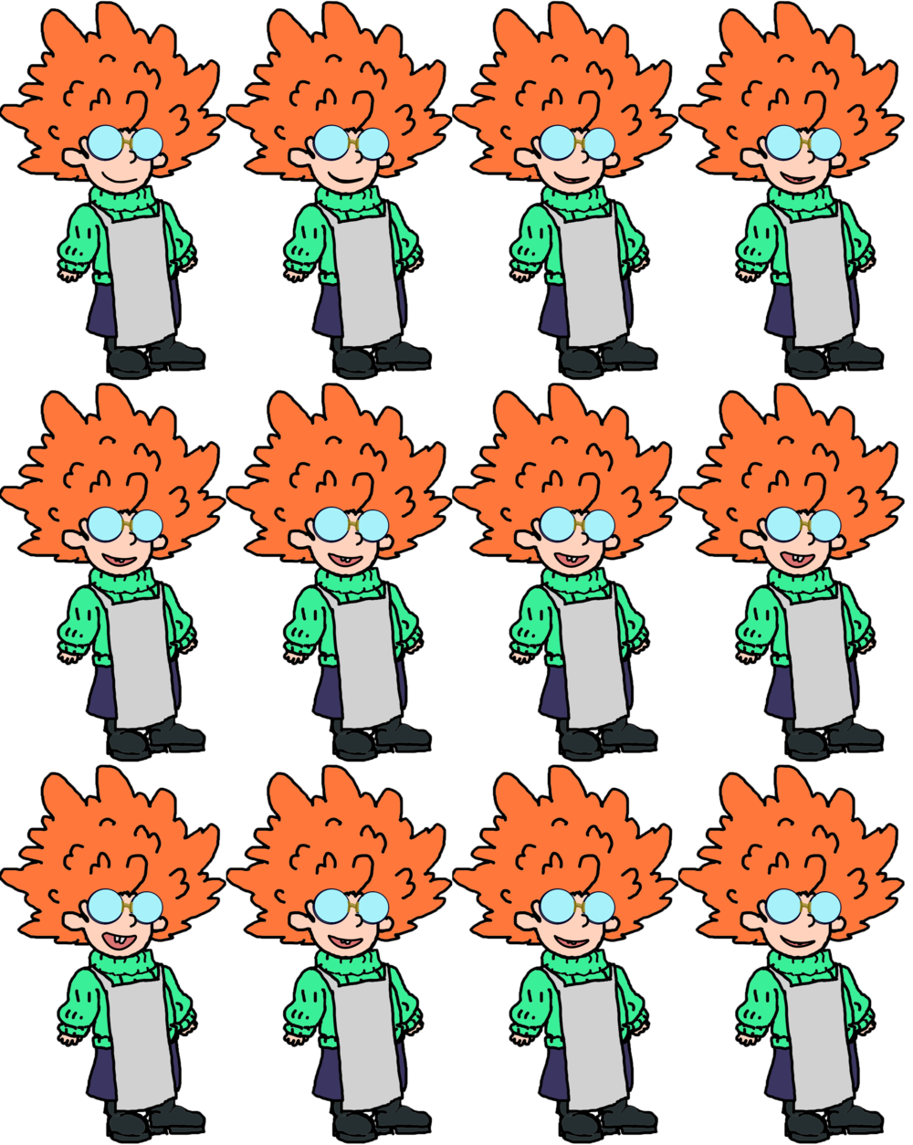 Sprite sheet for Alix, the mad scientist child