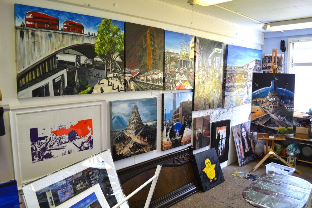 My studio set up during an open studio