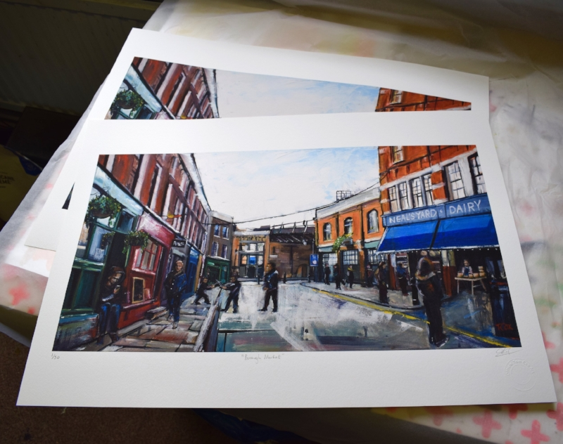 Limited edition giclee prints make up the more affordable range of my work.  Borough Market, A2. £125. Available to  buy online.