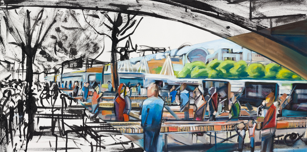 Waterloo Book Vendors, 2018 | Ink & oil on canvas | 100 x 50 cm | £1,250