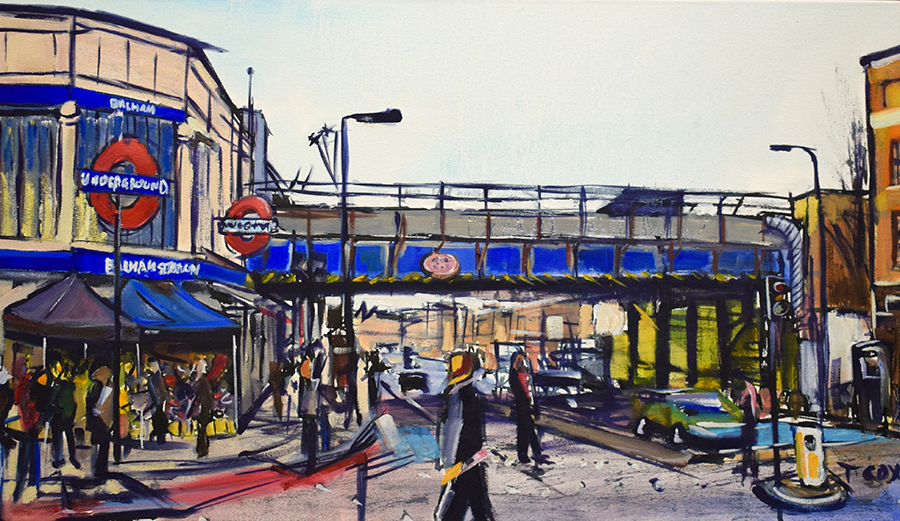 Balham Crossing, 2018 | Indian ink & oil on canvas | 70 x 40 cm | £750