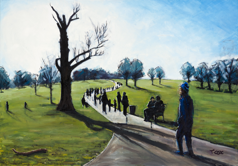 Path of Light - Brockwell Park, 2018 | Indian ink & oil on canvas | 100 x 70 cm | £1,500