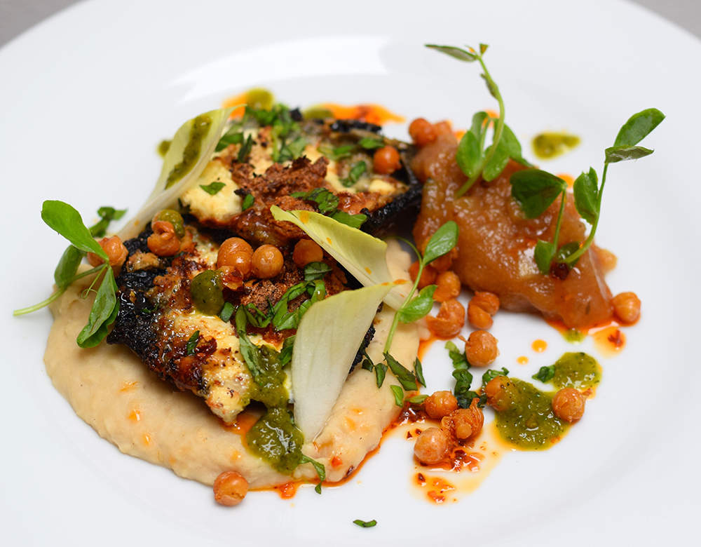 Roasted garlic and blue cheese mushrooms, white bean puree, dukkha spiced apple sauce, crispy chickpeas, red and green chilli and pea shoots
