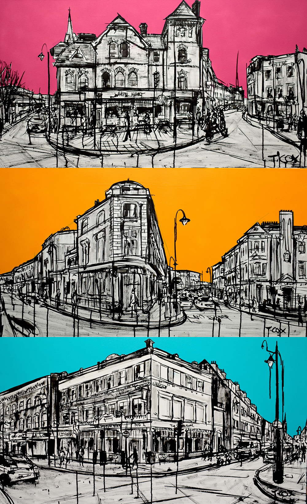 Crystal Palace Triangle Triptych   Three 55 x 100 cm canvases   Indian ink & oil on canvas   £2,000