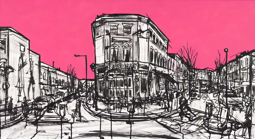 EDT in pink, 2019 | Spray paint & ink on canvas | 55 x 100 cm - Part of my City Punch series