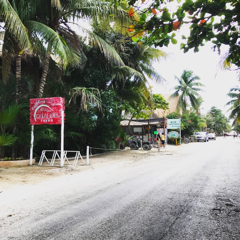 The main road lined with hotels and beachfront resorts.