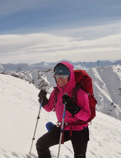 PRESIDENT - Erica Lamb Erica came to Alaska in search of misadventure, which she regularly finds climbing and in the mountains.  Erica is psyched on getting others into the mountains, and wants to spread the joy of survival skiing with a heavy pack!