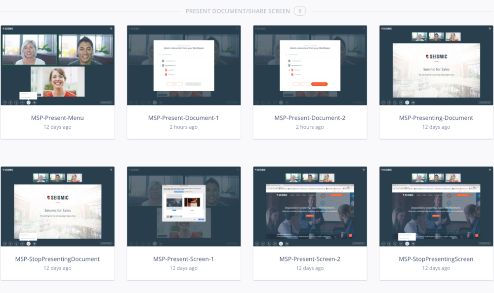 This is an example of screens for the flow of the moderator presenting their screen or a document during a meeting.The screens were strung together in a clickable prototype in InVision to use during user testing.