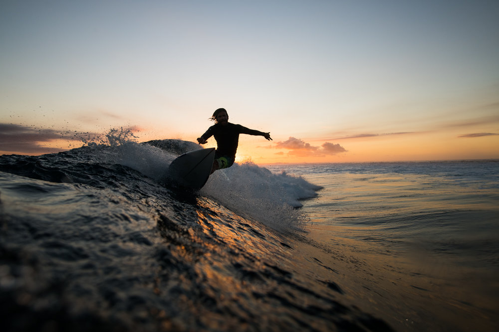 Sunset surf session photo Stu Gibson. Wilkes Right.