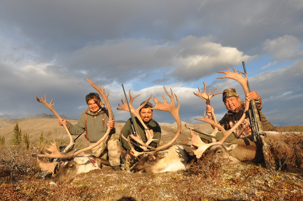 Pat, Kanim and Randy with their caribou
