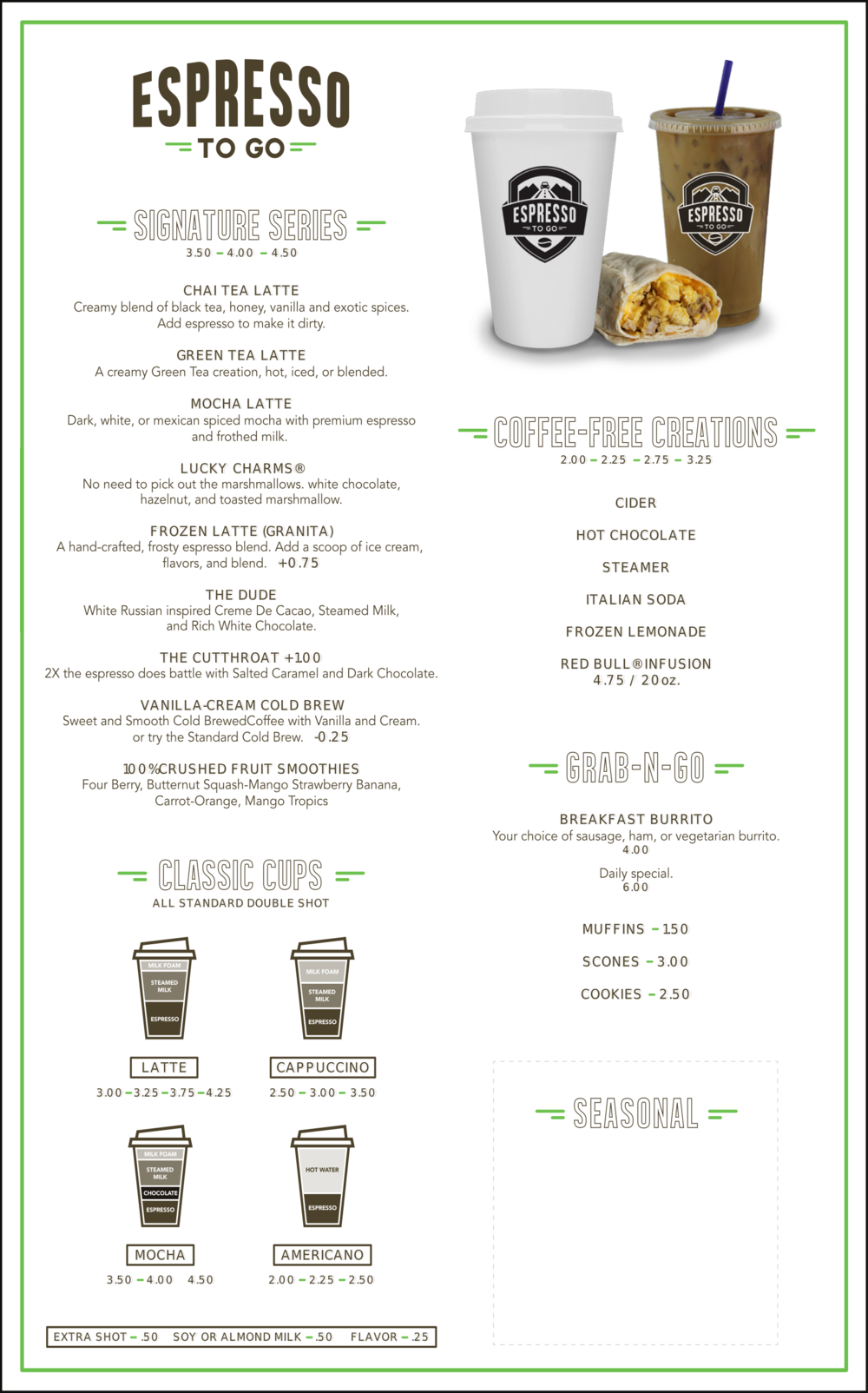 Espresso and Coffee Menu