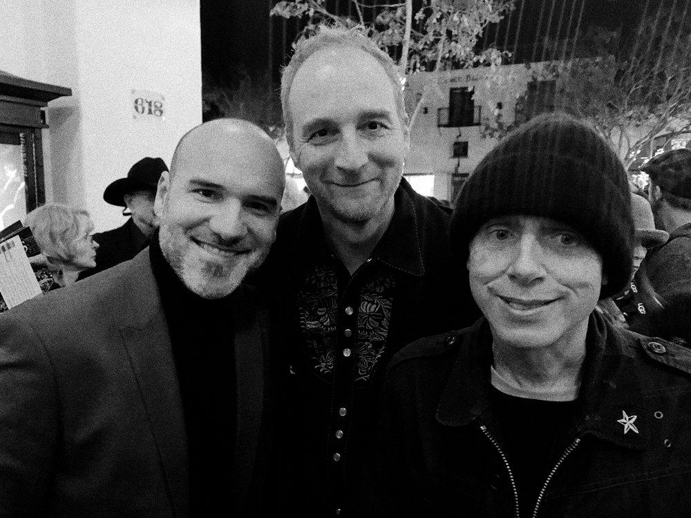 "Director  Pascui Rivas , with  Ricky Restrepo   ( Estados Alterados )  &  Martin Gore ( Depeche Mode  ) attend the world premiere of ""Ordinary Gods,"" at the 2019 Santa Barbara International Film Festival."