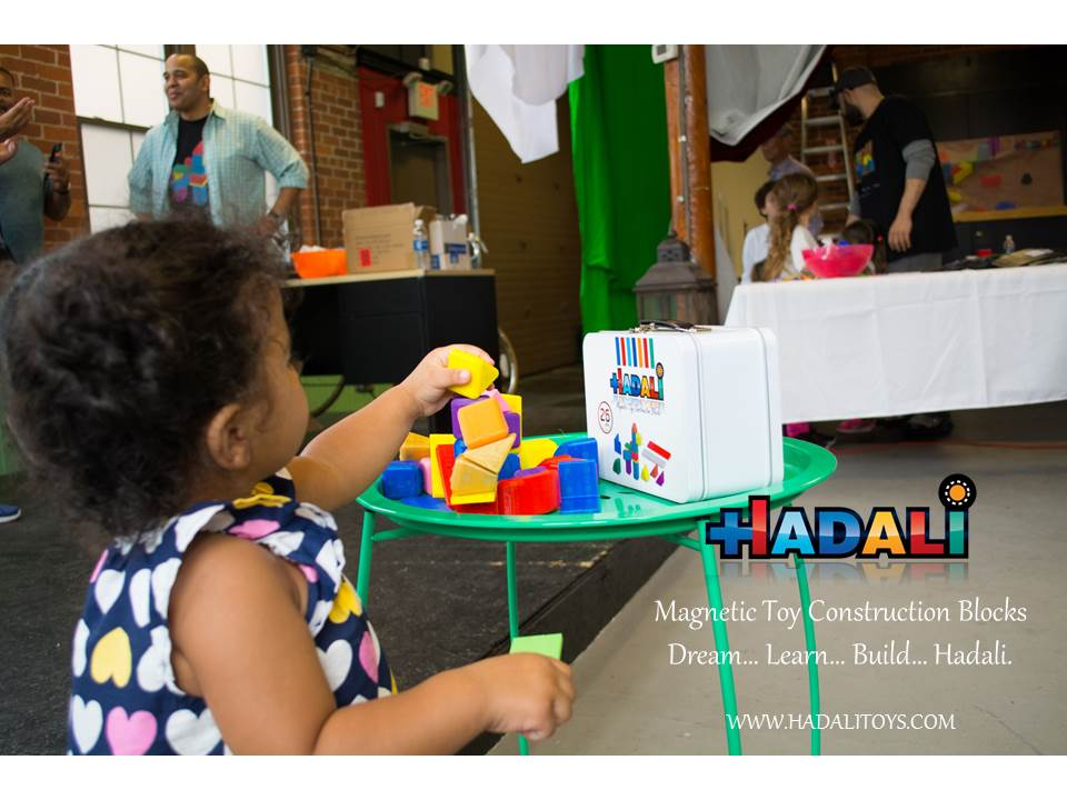 Hadali Toys - Toddler safely builds with Hadali - Magnetic Toy Construction Blocks.