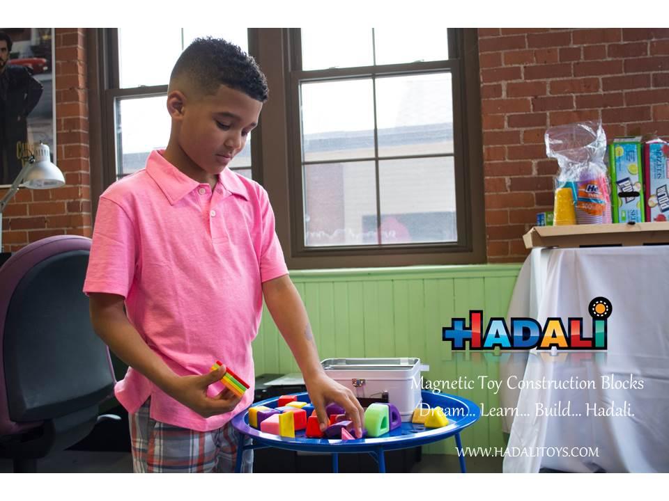 Hadali Toys - Boy explores the 26 piece Hadali set.