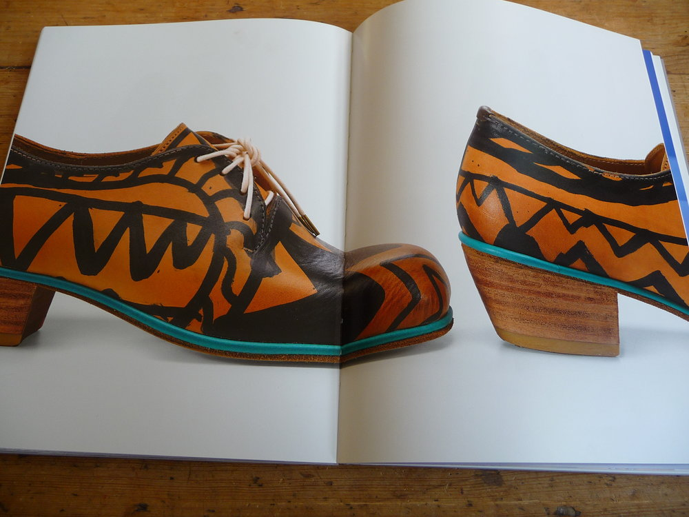 'Painted Derby Shoes' as seen in the NGV '200 Years of Australian Fashion' exhibition catalogue.  Catalogue image National Gallery of Victoria, Melbourne 2016.