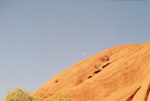 Moon peaking over Uluru