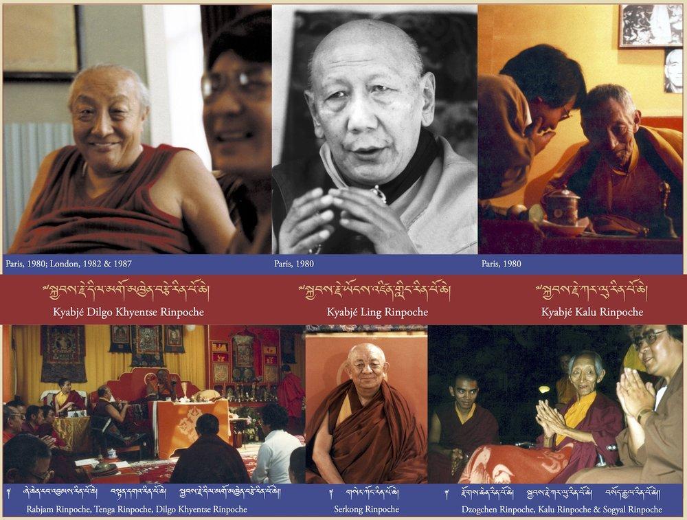 Kyabjé Dilgo Khyentse Rinpoche, Kyabjé Ling Rinpoche, Kyabjé Kalu Rinpoche