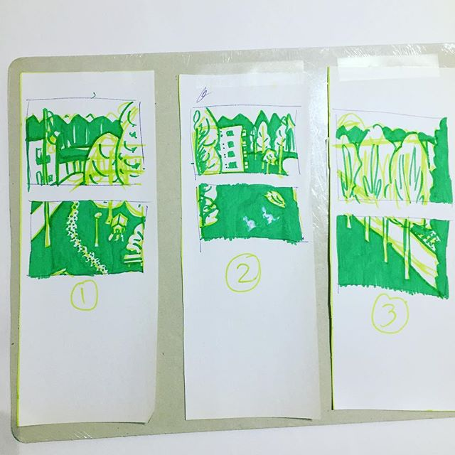 Sketch for a new 6-panel project. #backyardview #balconyview #art #sketch#buildings #nature #nottoscale #ideas