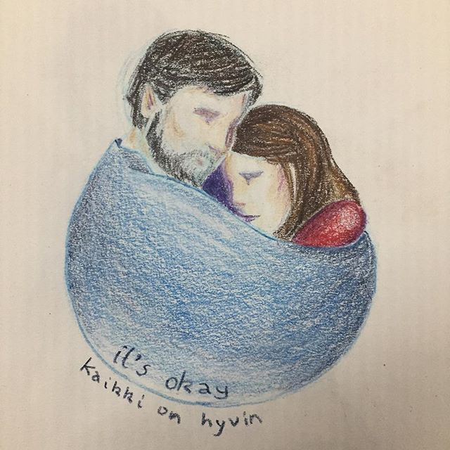 A throwback to 2012, to a time I was really struggling, and still learning to feel safe.  #love #watercolourpencils #couple #safe #kaikkionhyvin