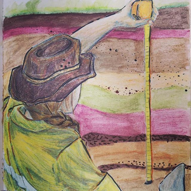 Digging for context.  #watercolourpencils #selfportrait #archaeology