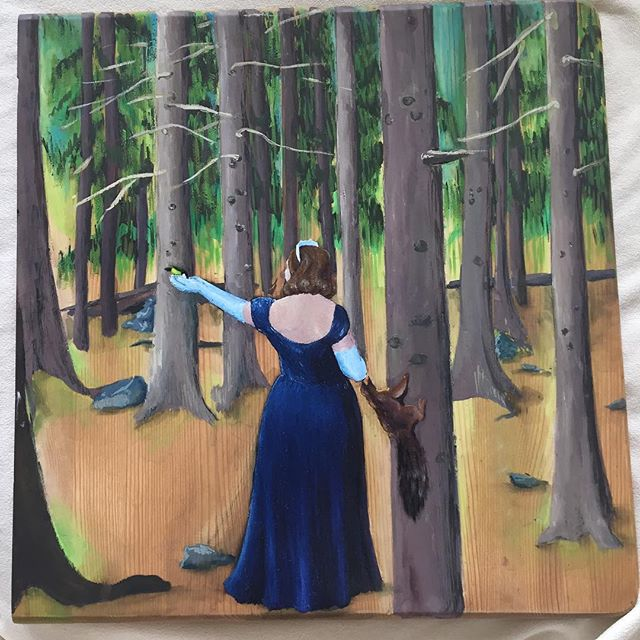 Finished, I guess! Princess in the woods. Based on a true story. #gouache #oilpaint #wood #carving #mixed media #bird #squirrel #princess #seurasaari #finland #basedonatruestory