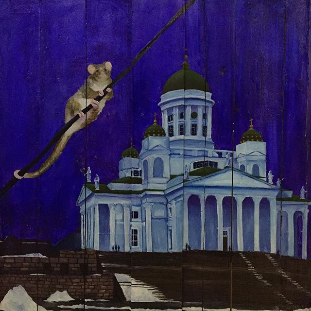 Australian possum in Helsinki Senate Square. Cheeky thing, probs looking for some roof to stomp on.  #art #oilpainting #cupboardcanvas #australianinhelsinki #tuomiokirkko #whitecathedral #helsinki #finland #australian