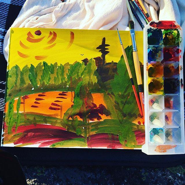 When you don't want to waste the last colours in your palette... 🎨 View over Linnanmäki car park towards Pasila.  #linnanmäki #art #helsinki #dontwastepaint #gouache #outdoorart #bird