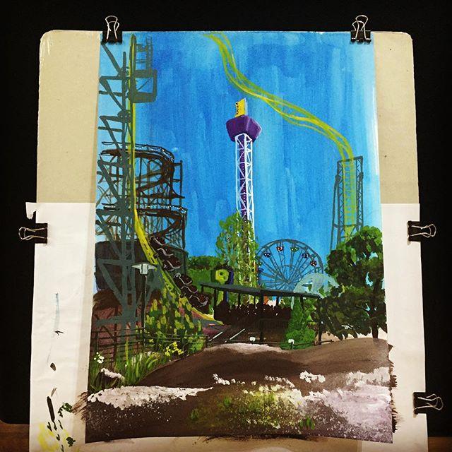Finished off the foreground.  #linnanmäki #art #gouache #rollercoaster #pleinair