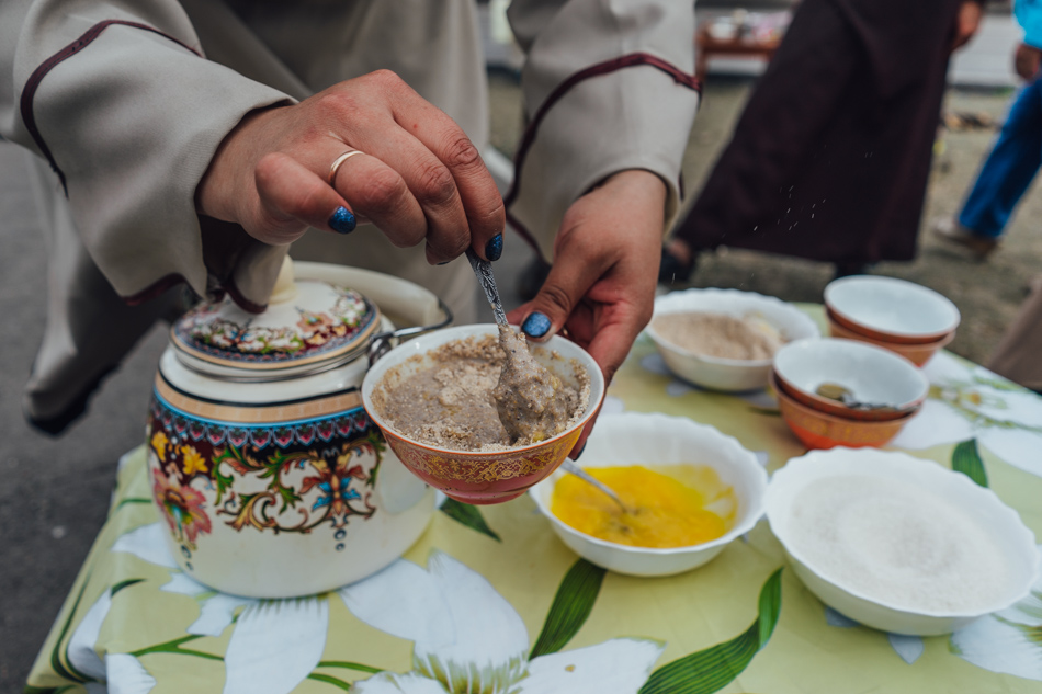Traditional food made from kama, сlarified butter, milk and sugar.