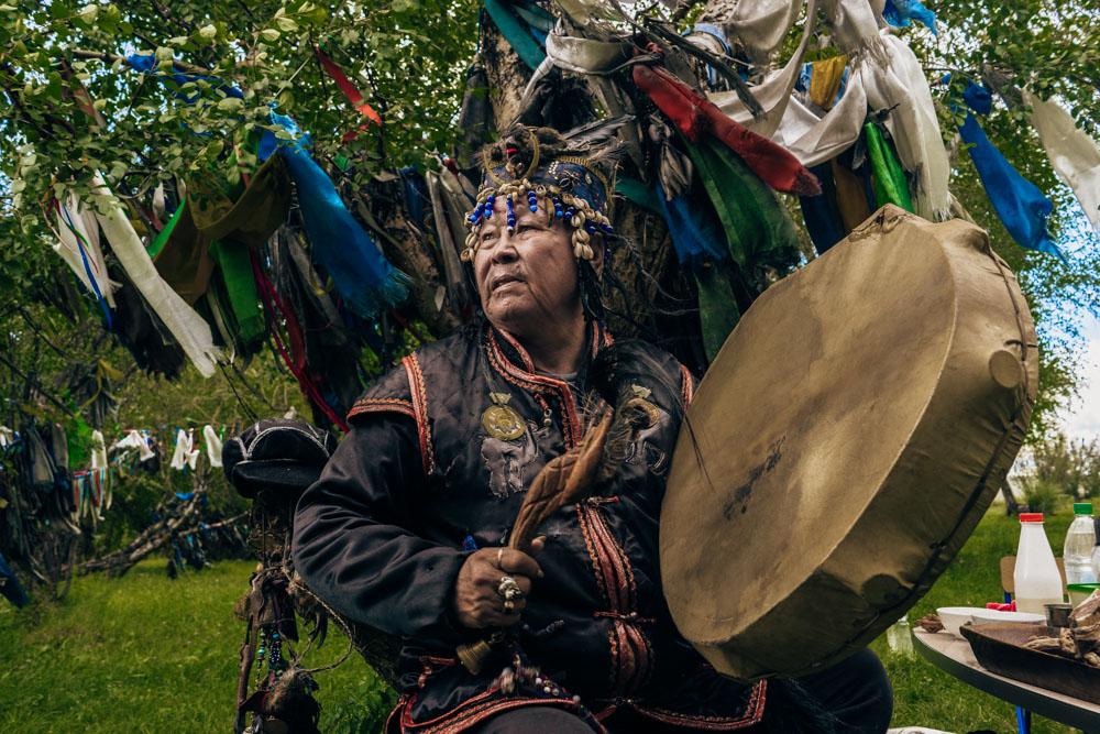 Kara-ool Tuluchevich and his tambourine