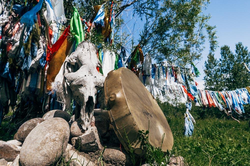 Sacred place Mongun-Bulak near the water brook Serebryanka